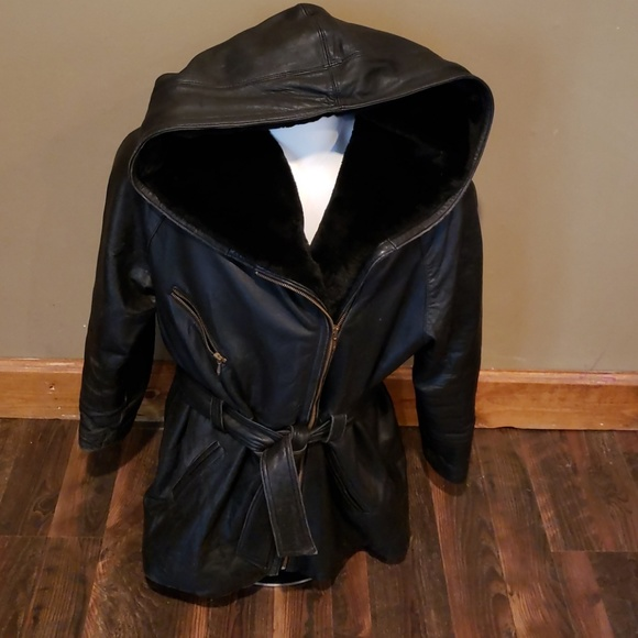 b74331a15 Ladie's Ms. Maxima Leather Coat w/Fur Lined Hood